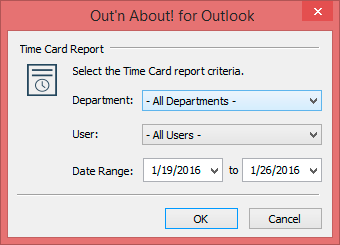 Generate Time Card Reports for all users and departments for Out'n About